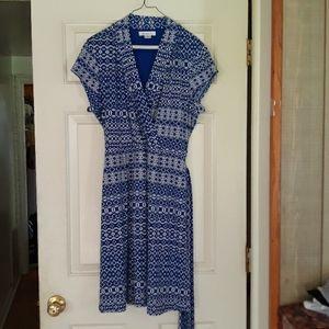 Liz Claiborne blue & white faux wrap dress